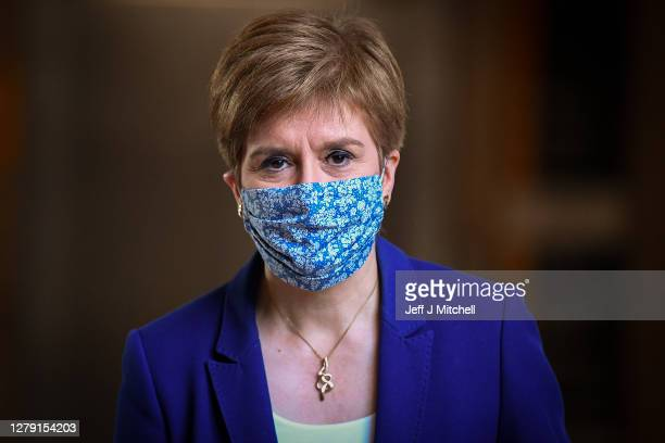 First Minister Nicola Sturgeon arrives for First Minister's Questions at the Scottish Parliament on October 8, 2020 in Edinburgh, Scotland.