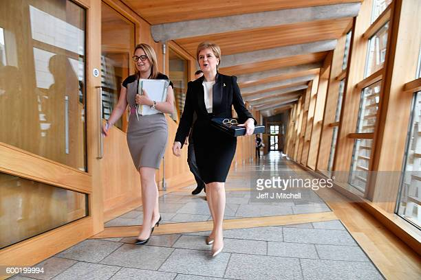 First Minister Nicola Sturgeon arrives for first ministers questions on September 8 2016 in Edinburgh Scotland The First Minister was quizzed by...