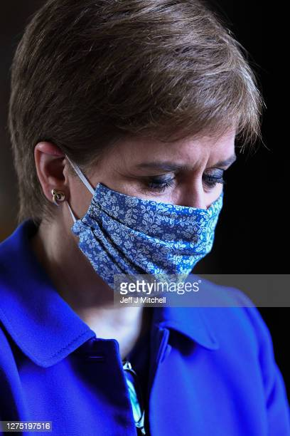 First Minister Nicola Sturgeon arrives prior to announcing her plans to halt the spread of coronavirus at the Scottish Parliament on September 22...