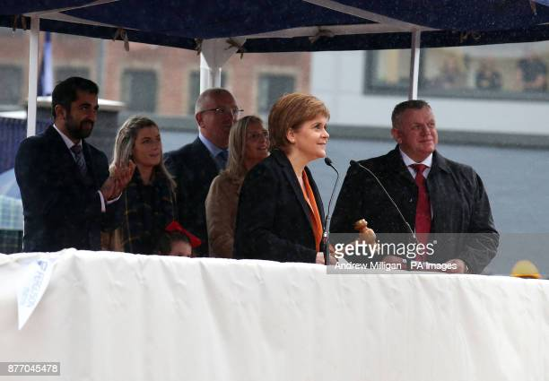 First Minister Nicola Sturgeon at a launch ceremony for the liquefied natural gas passenger ferry MV Glen Sannox the UK's first LNG ferry at Ferguson...