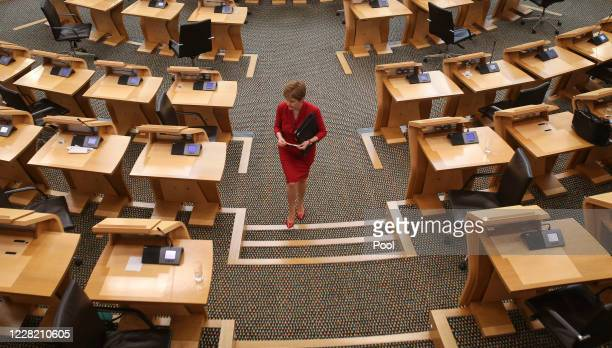 First Minister Nicola Sturgeon attends First Ministers Questions at the Scottish Parliament Holyrood on August 26, 2020 in Edinburgh, Scotland.