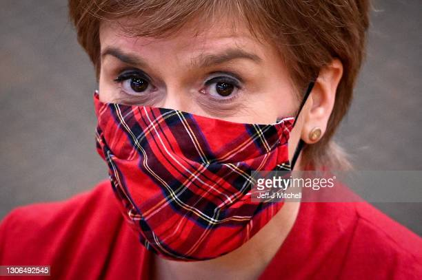First Minister Nicola Sturgeon attends First Minister's Questions at the Scottish Parliament on March 11, 2021 in Edinburgh, Scotland. First Minister...