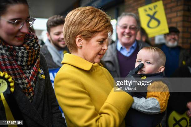 First Minister Nicola Sturgeon campaigns with SNP candidate Catriona MacDonald in Edinburgh South at Blossom Tree Nursery on November 12 2019 in...