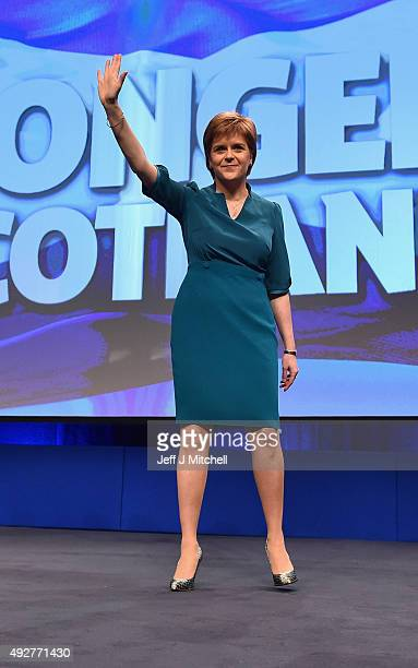 First Minister Nicola Sturgeon delivers a welcome address to the 81st Annual SNP conference at the Aberdeen Exhibition and Conference centre on...