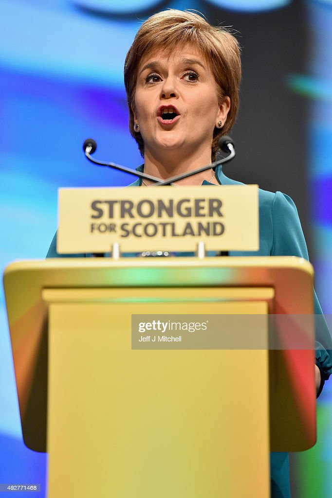 First Minister Nicola Sturgeon delivers a welcome address to the 81st Annual SNP conference at the Aberdeen Exhibition and Conference centre on October 15, 2015 in Aberdeen, Scotland. Nicola Sturgeon used her opening speech at the SNP conference to call on people who rejected independence in the referendum to vote for her party in next years Holyrood election.