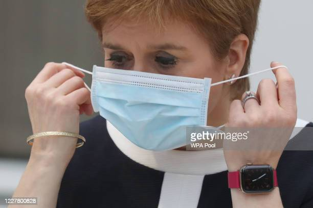 First Minister, Nicola Sturgeon during a visit to the NHS Louisa Jordan at the SEC, Glasgow, to learn about the venue being adapted for treating...