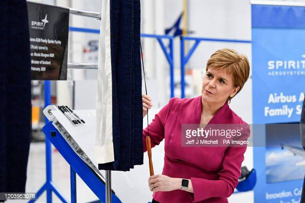 First Minister Nicola Sturgeon during her visit to Spirit Aero Systems where she opened a major new facility manufacturing spoiler wing components...