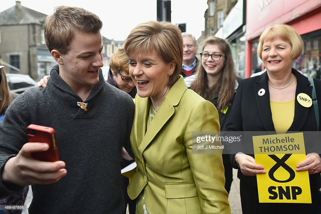 SNP Leader Nicola Sturgeon Unveils An Anti-Austerity Plan To Boost the NHS : News Photo