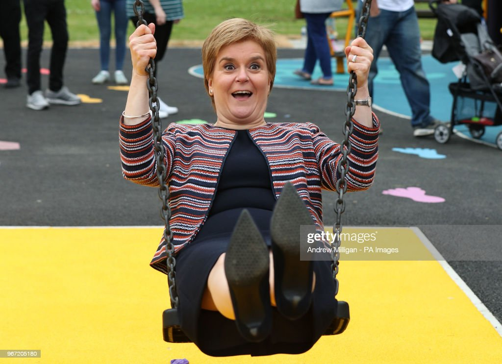 First Minister Nicola Sturgeon has a shot on a swing as she officially opened Play as One ScotlandÕs fully inclusive play park at Pittencrieff Park in Dunfermline.