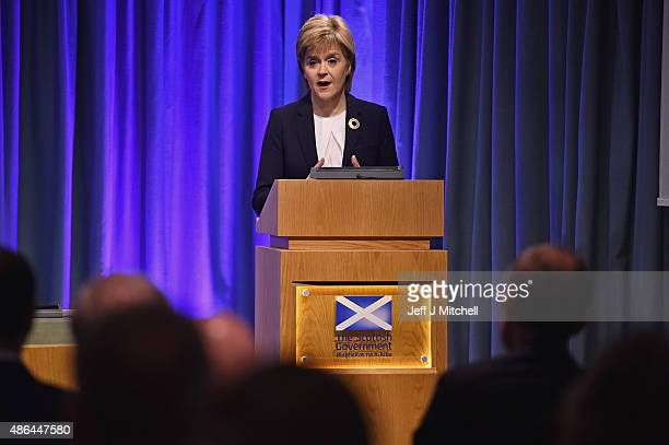 First Minister Nicola Sturgeon hosts a humanitarian summit at St Andrew's House on September 4 2015 in Edinburgh Scotland The First Minister held...