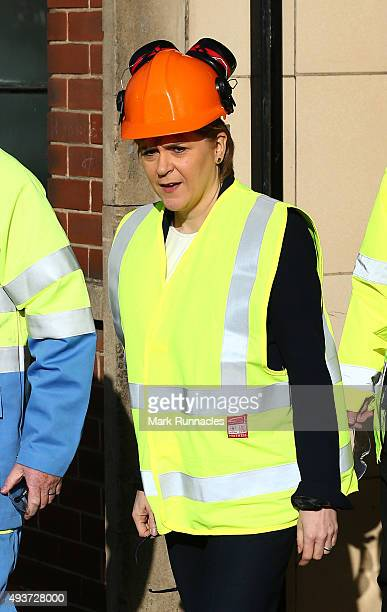 First Minister Nicola Sturgeon is seen at the Tata Steel Dalzell plate rolling works on October 22 2015 in Motherwell Scotland The First Minister was...
