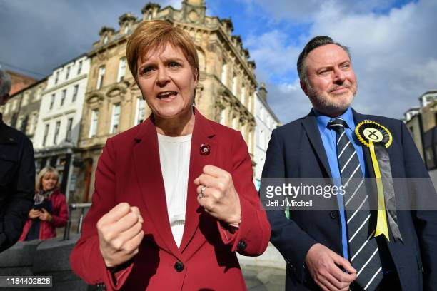First Minister Nicola Sturgeon joins Alyn Smith the SNP's candidate for Stirling on the election campaign trail on October 30 2019 in Stirling...