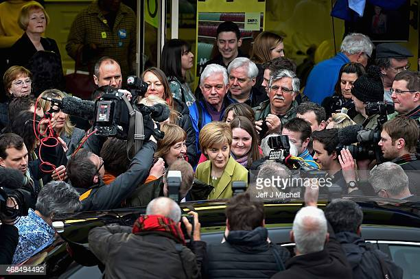 First Minister Nicola Sturgeon joins General Election candidate for Edinburgh West Michelle on the campaign trail on April 4 2015 in Edinburgh...