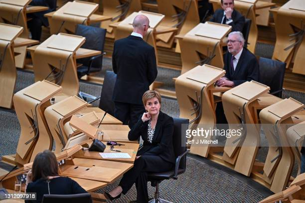 First Minister Nicola Sturgeon joins Scottish political party leaders as they take part in a motion of condolence for The Duke of Edinburgh at...