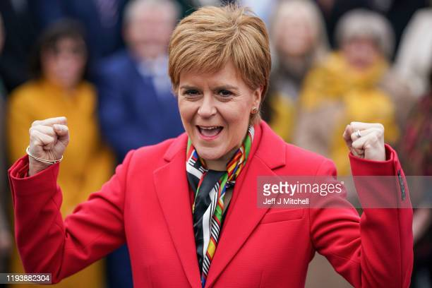 First Minister, Nicola Sturgeon, joins the SNP's newly elected MPs for a group photo outside the V&A Museum on December 14, 2019 in Dundee,...