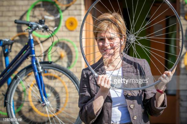 First Minister Nicola Sturgeon, leader of the Scottish National Party , at the Bike for Good Glasgow South Community Hub during campaigning for the...
