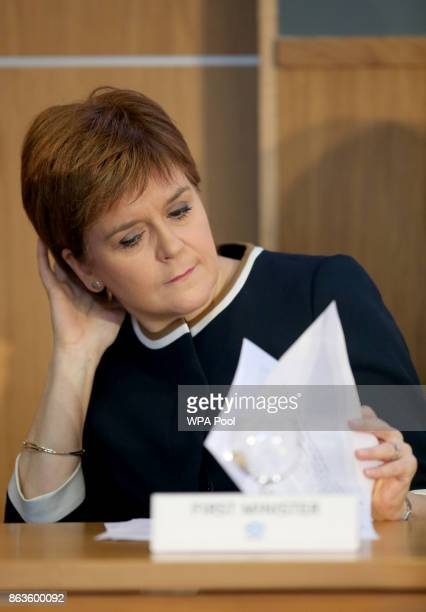 First Minister Nicola Sturgeon looks at notes as she visits Scotland's Inclusive Growth Conference as she outlines how reducing inequality and...