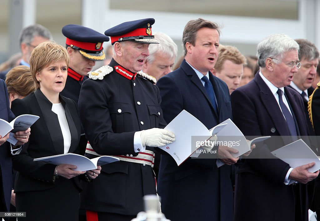 First Minister Nicola Sturgeon, Lord-Lieutenant of Orkney Bill Spence, Prime Minister David Cameron and Defence Secretary Michael Fallon attend a service at Lyness Cemetery during the 100th anniversary commemorations for the Battle of Jutland on May 31, 2016 in Hoy, Scotland. The event marks the centenary of the largest naval battle of World War One where more than 6,000 Britons and 2,500 Germans died in the Battle of Jutland fought near the coast of Denmark on 31 May and 1 June 1916.
