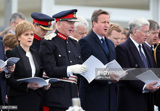 First Minister Nicola Sturgeon LordLieutenant of Orkney Bill Spence Prime Minister David Cameron and Defence Secretary Michael Fallon attend a...