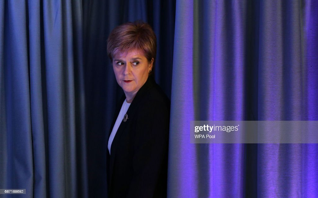 First Minister Nicola Sturgeon makes her way to speak to the media after a suicide bomber killed 22 people, including children, as fans were leaving an Ariana Grande pop concert in Manchester on May 23, 2017 in Edingburgh, Scotland, United Kingdom.