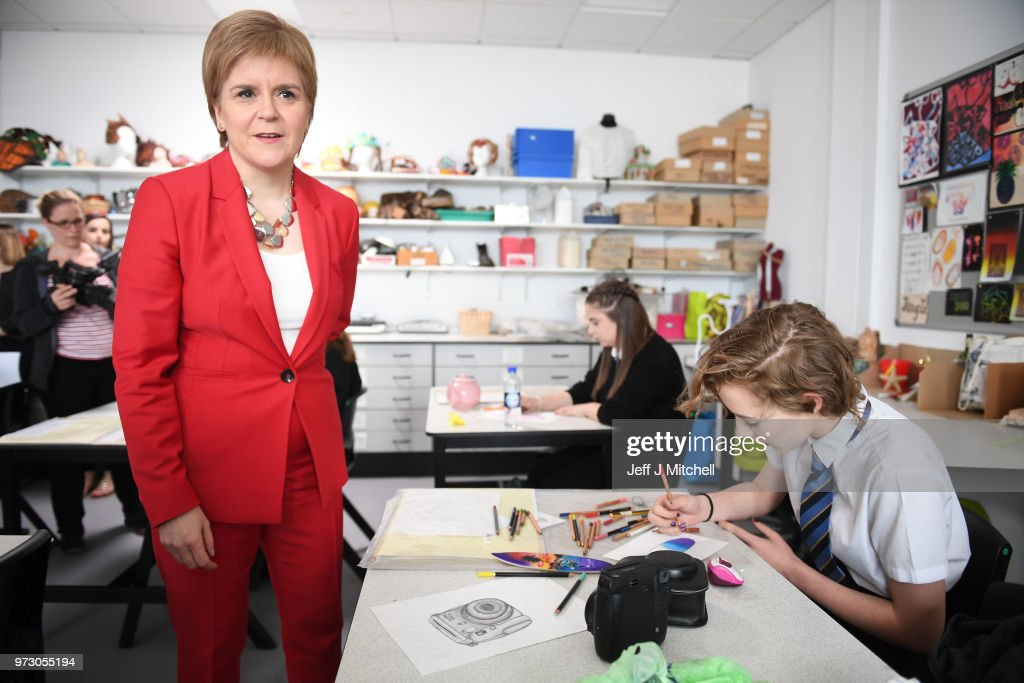First Minister Nicola Sturgeon meets students as she opens the new Largs Campus school building on June 13, 2018 in Largs,Scotland. The new Largs Campus, which has been part-funded by the Scottish Government's Schools for the Future campaign, provides a home for an early years centre, Largs Primary, St Mary's Primary and Largs Academy.