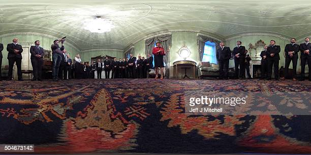 First Minister Nicola Sturgeon meets the Scotland Rugby Squad at Bute House on January 12 2016 in Edinburgh Scotland The First Minister held a...
