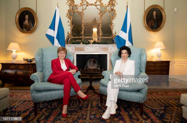 First Minister Nicola Sturgeon meets with Bianca Jagger at Bute House to discuss the Scottish Government's support for the Bonn Challenge on December...