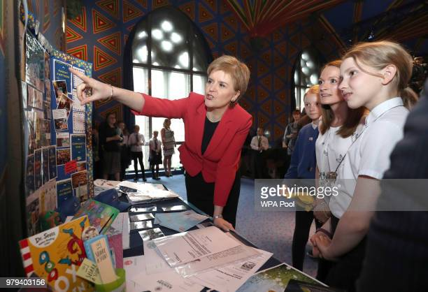 First Minister Nicola Sturgeon speaks at a celebration event for the First Minister's Reading Challenge at The Hub on June 20 2018 in Edinburgh...