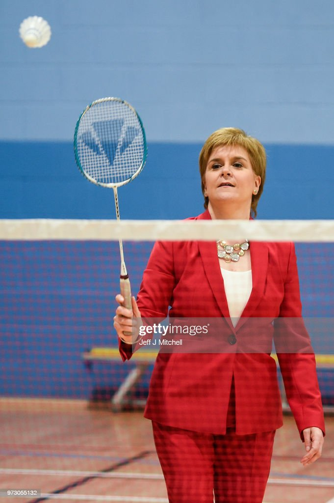First Minister Nicola Sturgeon plays badminton as she opens the new Largs Campus school building on June 13, 2018 in Largs,Scotland. The new Largs Campus, which has been part-funded by the Scottish Government's Schools for the Future campaign, provides a home for an early years centre, Largs Primary, St Mary's Primary and Largs Academy.