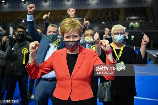First Minister Nicola Sturgeon reacts after being declared the winner of the Glasgow Southside seat at Glasgow counting centre in the Emirates Arena...