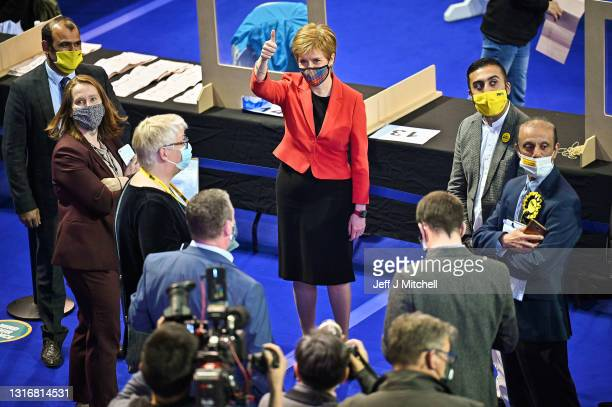 First Minister, Nicola Sturgeon reacts after being declared the winner of the Glasgow Southside seat at Glasgow counting centre in the Emirates Arena...