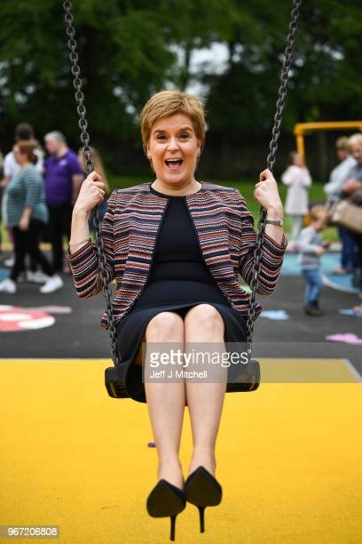 First Minister Nicola Sturgeon sits on a swing as she officially opens Play as One Scotland's fully inclusive play park on June 4 2018 in...