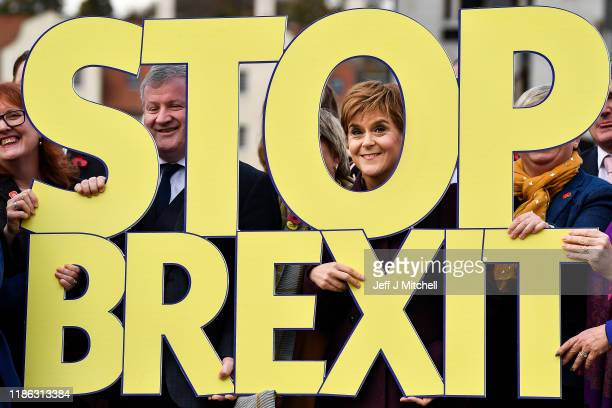 First Minister Nicola Sturgeon speaks during the launch of the SNP election campaign at Dynamic Earth on November 8, 2019 in Edinburgh, Scotland. The...
