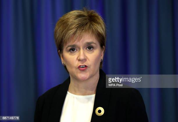 First Minister Nicola Sturgeon speaks to the media after a suicide bomber killed 22 people including children as fans were leaving an Ariana Grande...