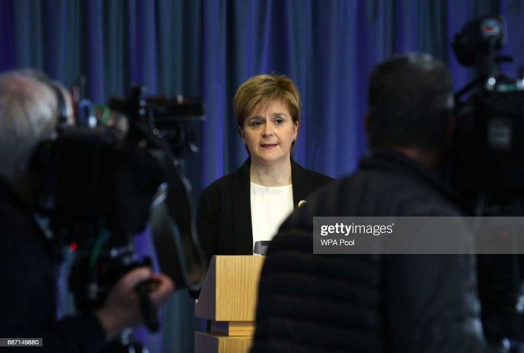 First Minister Nicola Sturgeon speaks to the media after a suicide bomber killed 22 people, including children, as fans were leaving an Ariana Grande pop concert in Manchester on May 23, 2017 in Edingburgh, Scotland, United Kingdom.
