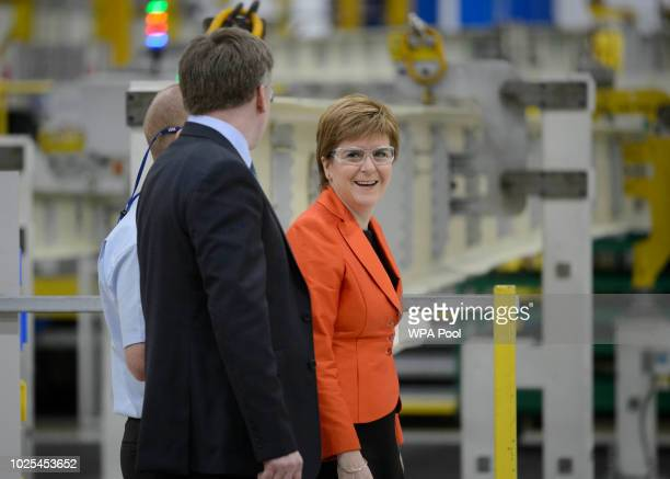 First Minister Nicola Sturgeon stands with Scott McLarty vice president of Spirit AeroSystems UK and Malaysia during a visit to Spirit AeroSystems...