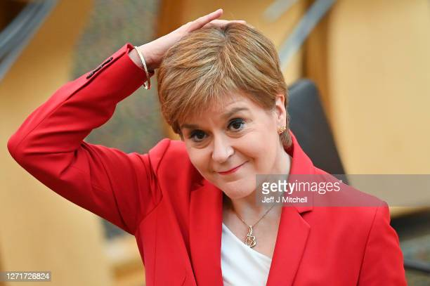 First Minister Nicola Sturgeon takes questions during First Minister's Questions at the Scottish Parliament on September 10 2020 in Edinburgh...