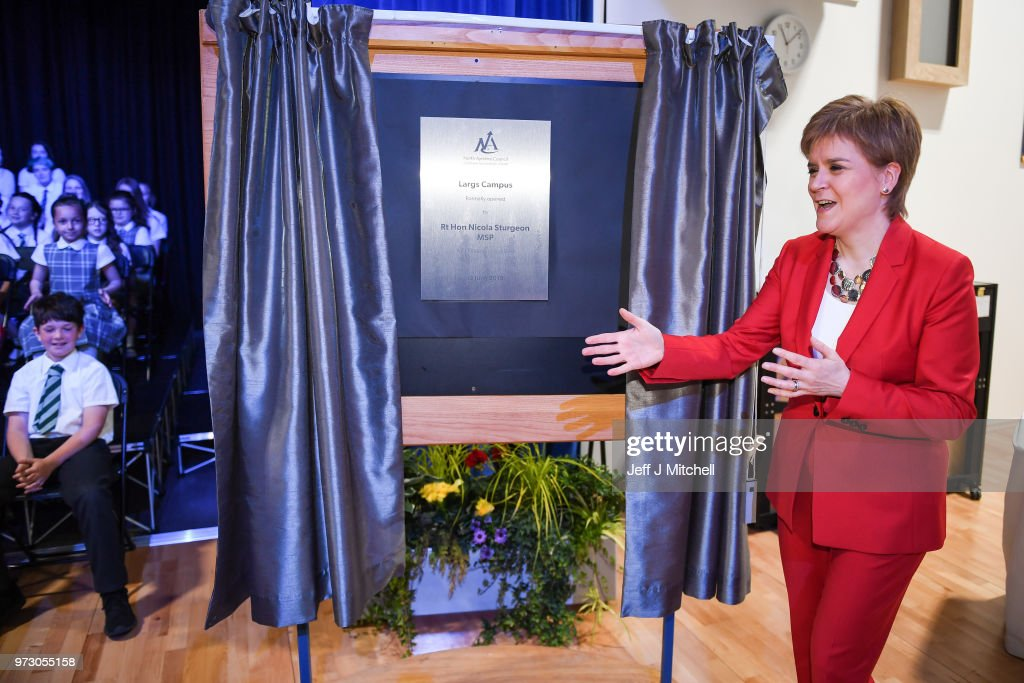First Minister Nicola Sturgeon unveils a plaque as she opens the new Largs Campus school building on June 13, 2018 in Largs,Scotland. The new Largs Campus, which has been part-funded by the Scottish Government's Schools for the Future campaign, provides a home for an early years centre, Largs Primary, St Mary's Primary and Largs Academy.