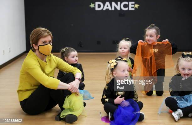 First Minister Nicola Sturgeon visits Empire School of Dance ahead of a by-election on May 12, 2021 in Airdrie, Scotland.
