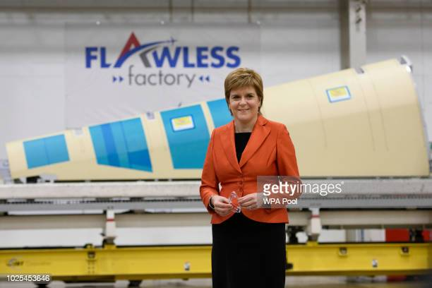 First Minister Nicola Sturgeon visits Spirit AeroSystems near Prestwick Airport where she met apprentices and graduates on August 30 2018 in Ayrshire...