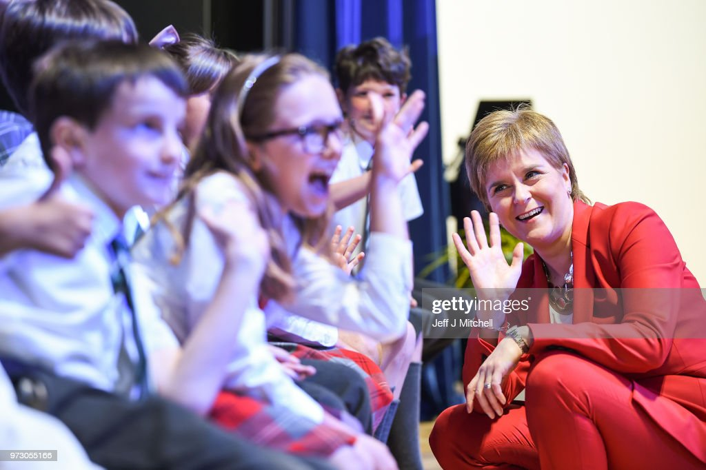 First Minister Nicola Sturgeon waves as she opens the new Largs Campus school building on June 13, 2018 in Largs,Scotland. The new Largs Campus, which has been part-funded by the Scottish Government's Schools for the Future campaign, provides a home for an early years centre, Largs Primary, St Mary's Primary and Largs Academy.