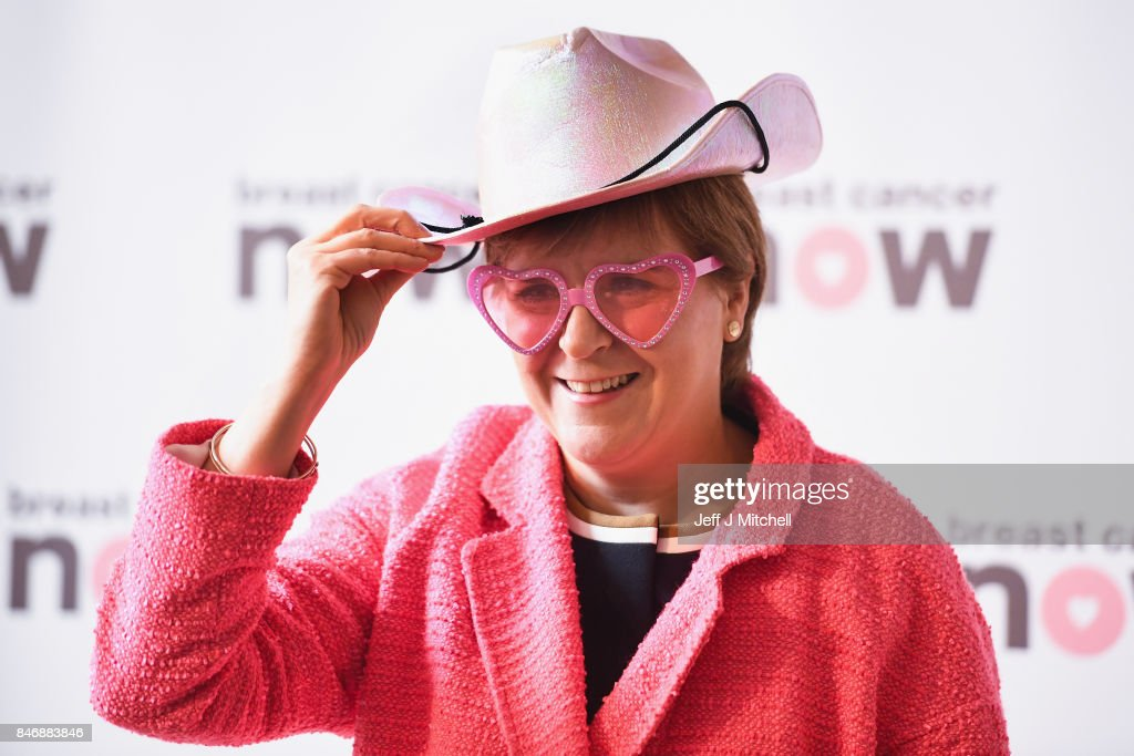 First Minister Nicola Sturgeon,poses for a picture in support of Breast Cancer Now on September 14, 2017 in Edinburgh, Scotland. Scottish political party leaders have joined forces in support of women with breast cancer to encourage Scots to take part in Breast Cancer Now's 'Wear it Pink' fundraiser.