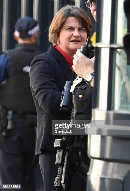 First Minister of Northern Ireland Arlene Foster after speaking to the media outside 10 Downing Street following a meeting with Britain's Prime...