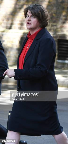 First Minister of Northern Ireland Arlene Foster before speaking to the media outside 10 Downing Street following a meeting with Britain's Prime...