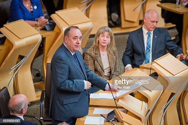 First Minister of Scotland Alex Salmond addresses the Scottish Parliament during a debate on the future of Scotland at Holyrood on September 23 2014...