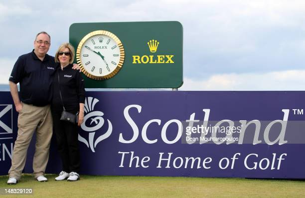 First Minister of Scotland Alex Salmond and his wife Moira pose during the third round of the Aberdeen Asset Management Scottish Open at Castle...