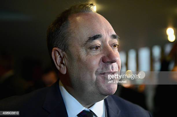 First Minister of Scotland Alex Salmond, leaves the chamber following his last First Minister's Questions at the Scottish Parliament on November 13,...