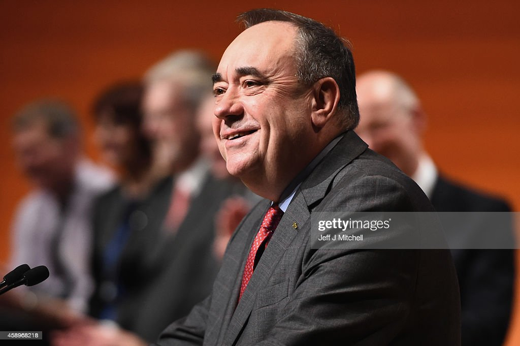 First Minister of Scotland Alex Salmond, makes his last key