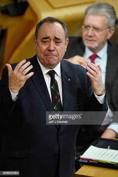 First Minister of Scotland Alex Salmond takes his last First Minister's Questions at the Scottish Parliament on November 13 2014 in Edinburgh...
