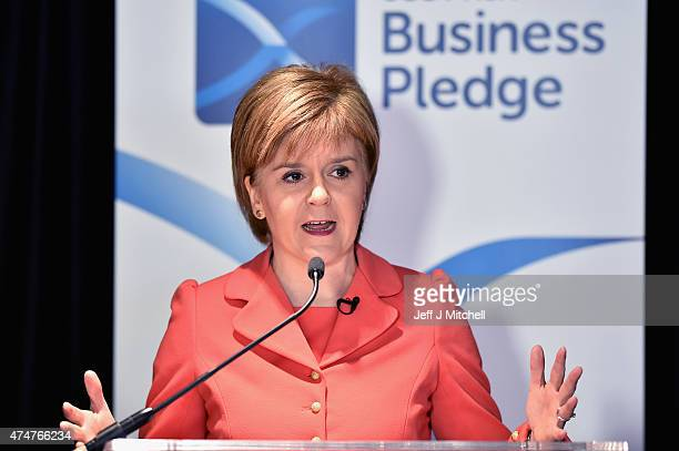 First Minister of Scotland and leader of the SNP Nicola Sturgeon delivers a speech during a visit to the Heart of Midlothian FC's Tynecastle Stadium...